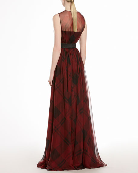 Check Printed Silk Chiffon Gown