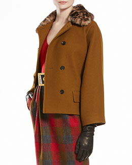 Gucci Wool Natte Caban with Jaguar Printed Mink Collar
