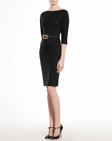 Wool Jersey Belted Dress