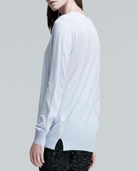 Long-Sleeve Crewneck Sweater, Periwinkle
