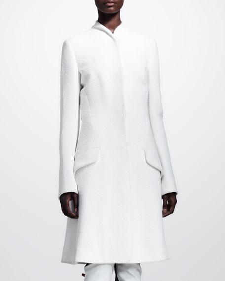 Collarless Boucle Princess Coat