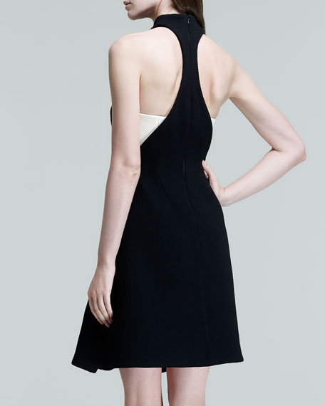 Two-Tone Leather-Panel Halter Dress