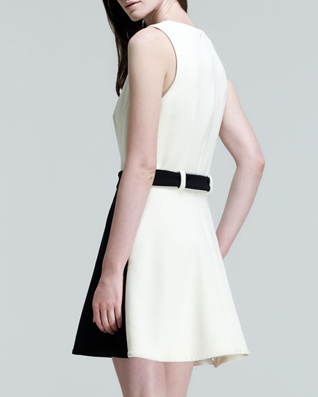 Two-Tone Belted Pocket Dress