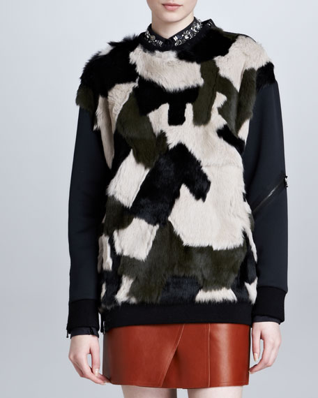 Rabbit Fur Patchwork Sweatshirt, Multicolor