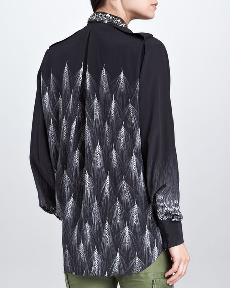 Wheat Spike-Print Silk Blouse, Black/White