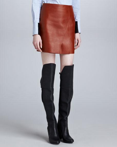 Layered Leather Miniskirt, Cognac
