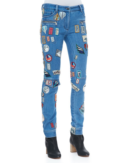 Patch-Covered Skinny Cargo Jeans, Medium Blue