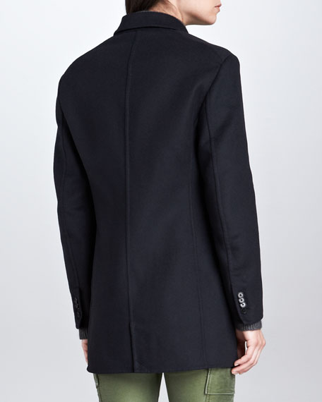 Trompe l'Oeil Layered Peacoat, Midnight
