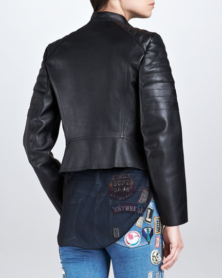 Leather Motorcycle Peplum Jacket, Black