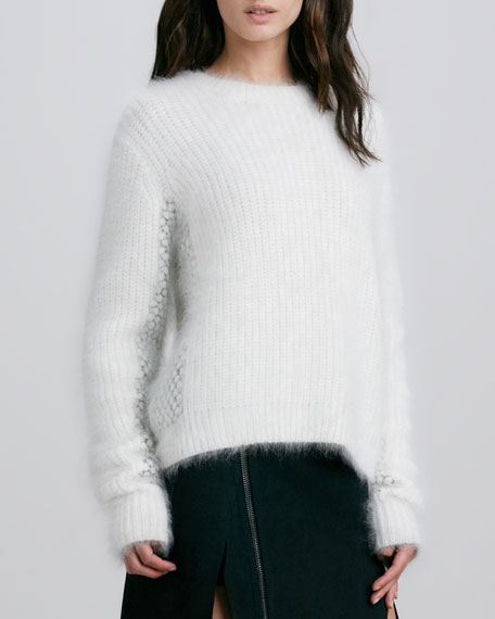 Cropped Wool-Angora Fuzzy Mix-Stitch Sweater