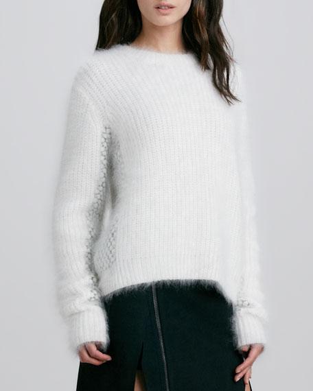 Cropped Wool-Angora Fuzzy Mix-Stitch Sweater