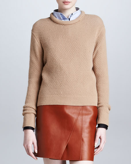 Roll-Neck Cropped Pullover, Camel