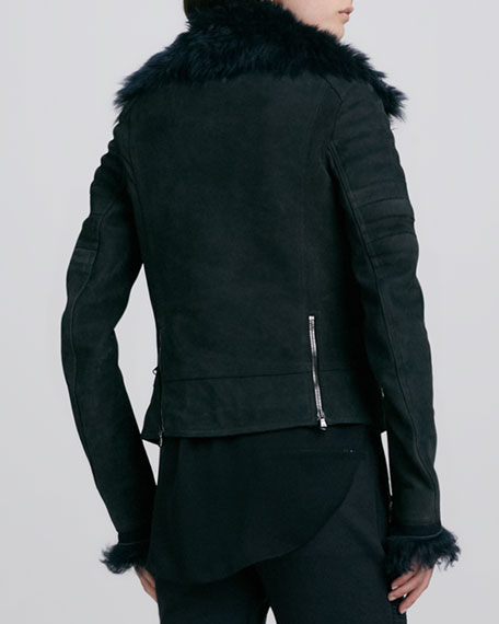 Leather/Fur Shrunken Quilted Biker Jacket