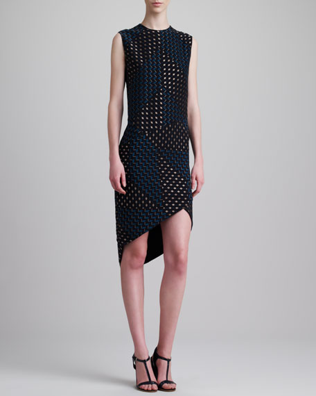 Laser Bonded Dress, Black/Blue
