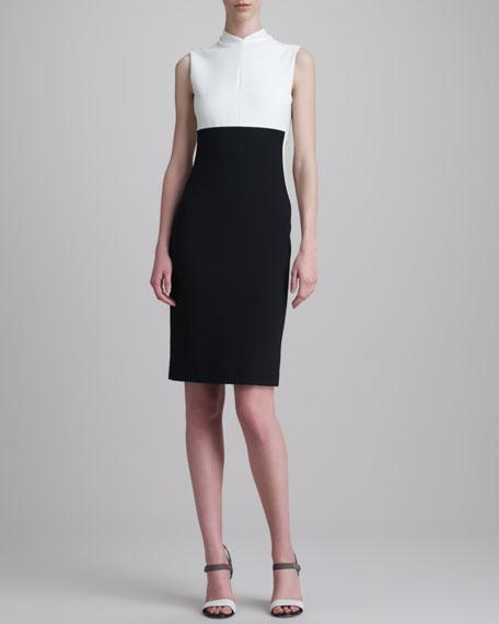Sleeveless Stretch Pique Dress, Cream/Black