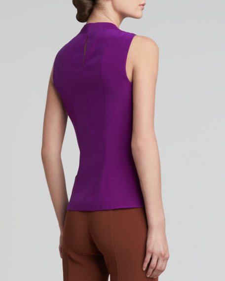 Folded-Shoulder Sleeveless Blouse, Fuchsia