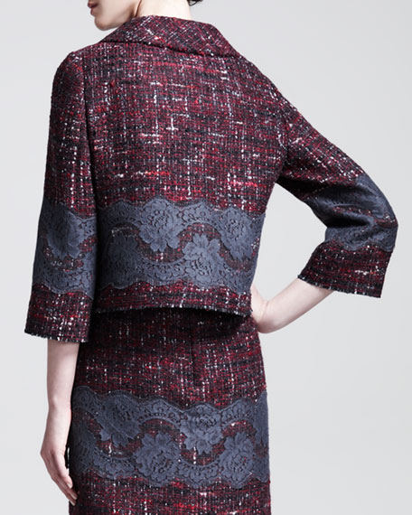 Lace-Embroidered Tweed Swing Jacket