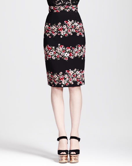 Floral-Striped Pencil Skirt