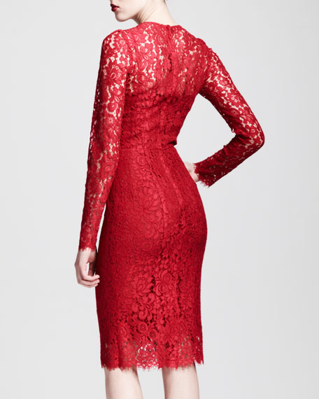 Long-Sleeve Lace Sheath Dress