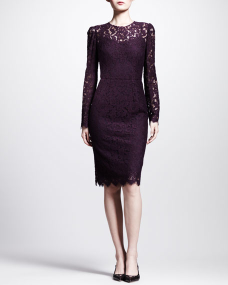 Long-Sleeve Lace Illusion Sheath Dress