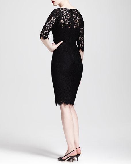 Half-Sleeve V-Neck Lace Dress