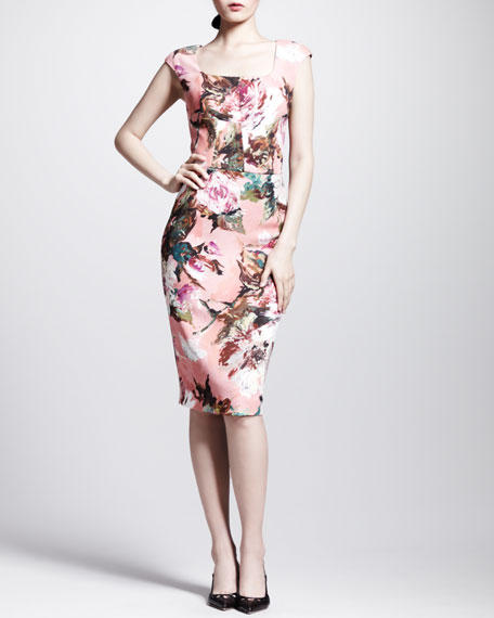 Floral Square-Neck Sheath Dress