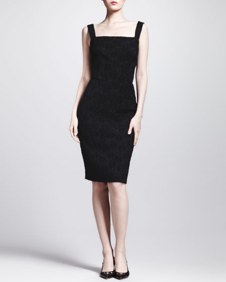 Sleeveless Square-Neck Jacquard Dress