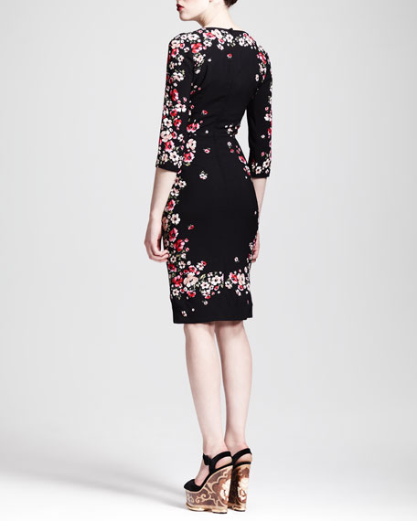 Square-Neck Floral Sheath Dress