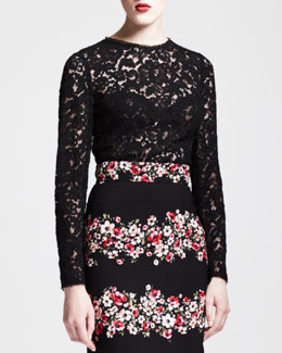 Dolce & Gabbana Sheer Long-Sleeve Lace Top