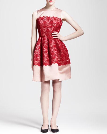 Sleeveless Full-Skirt Lace Combo Dress