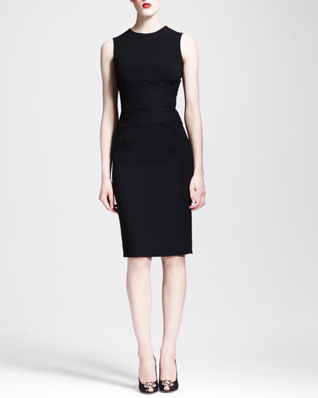 Sleeveless Lace-Waist Sheath Dress, Black