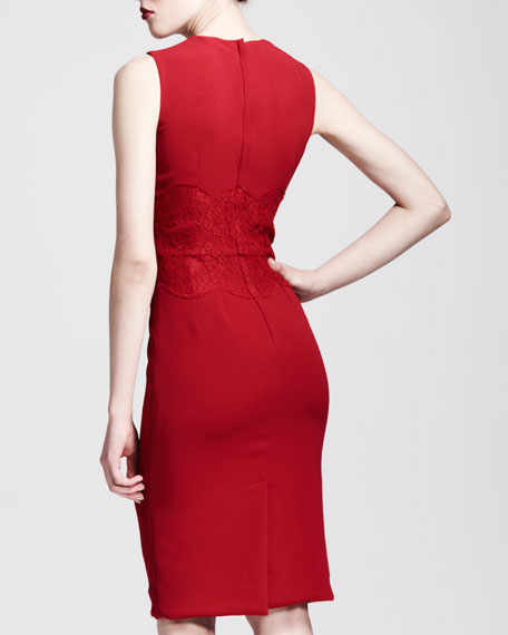 Dolce & Gabbana Sleeveless Lace-Waist Sheath Dress, Red