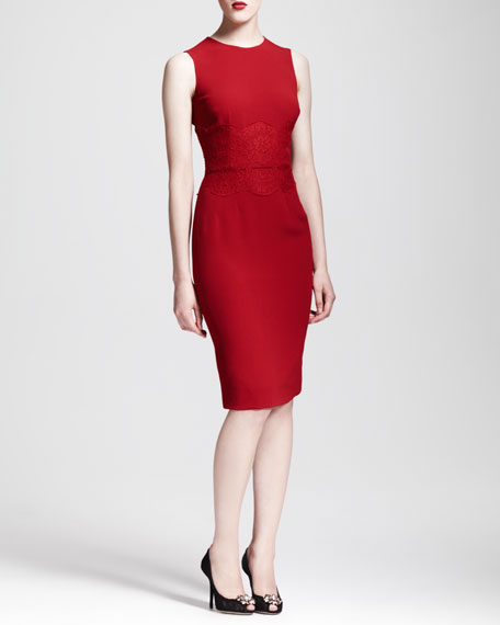 Sleeveless Lace-Waist Sheath Dress, Red