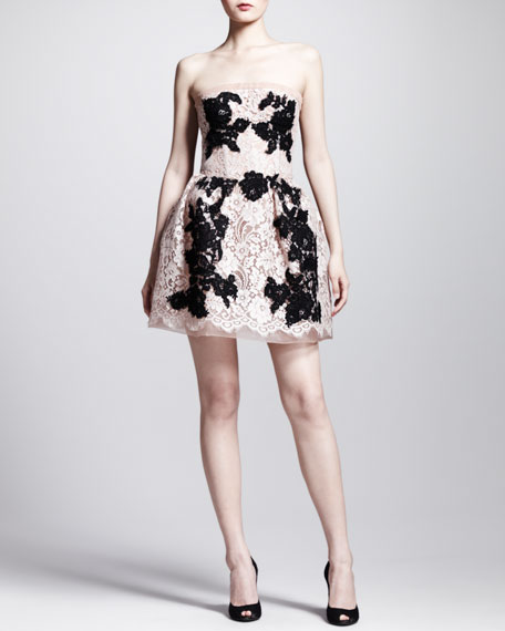 Strapless Full-Skirt Lace Dress