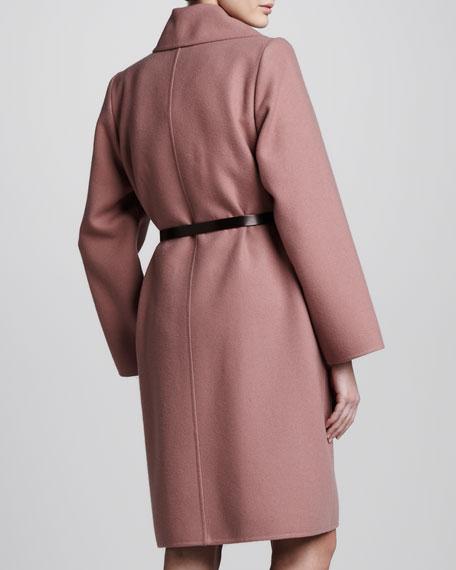 Double-Face Cashmere Coat, Rose