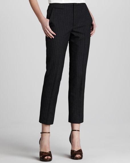 Pinstriped Slim Ankle Pants, Black