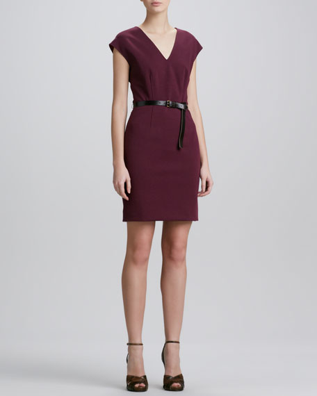 V-Neck Belted Jersey Dress