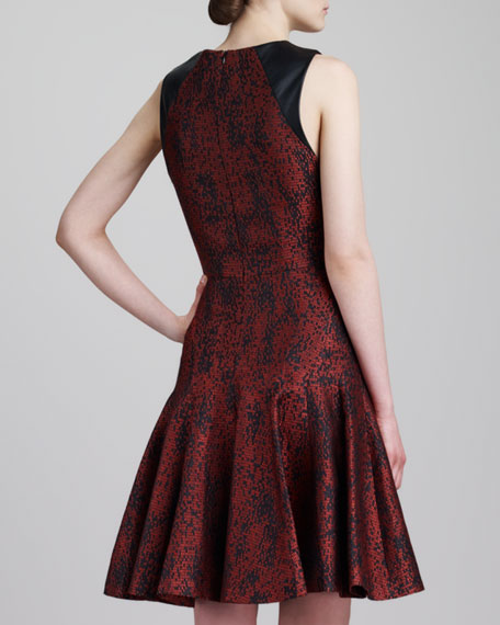 Graphic Jacquard & Leather Flounce Dress, Red/Black
