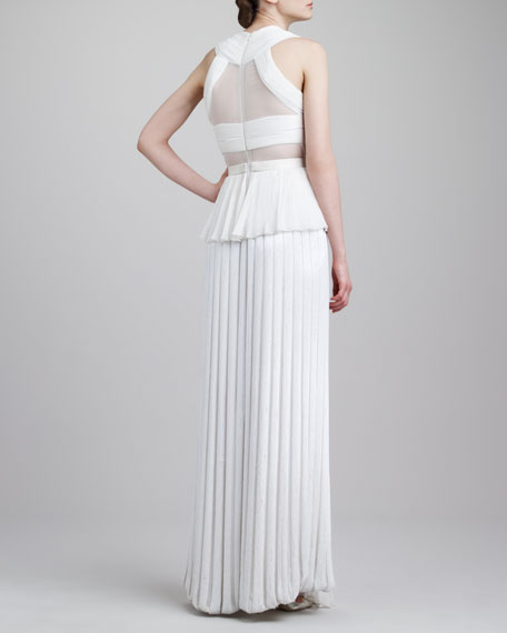 Sheer-Inset Pleated Peplum Gown, Ivory