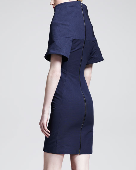 Raised-Neck Cotton/Silk Dress