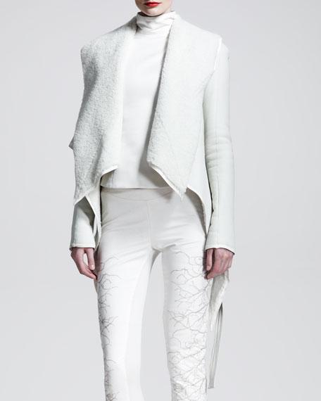 Asymmetric Fur-Lined Crossover Jacket