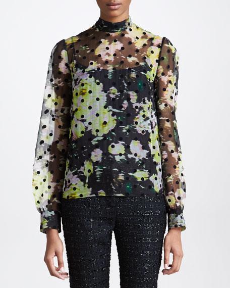 Dotted Floral-Print Chiffon Blouse