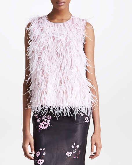 Sleeveless Feather Top, Pink