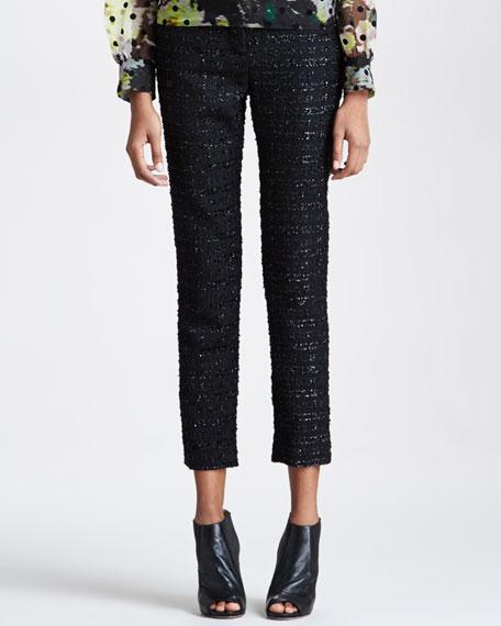 Slim Metallic-Tweed Trousers