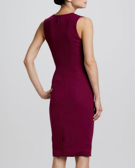 Sleeveless Gathered-Side Sheath Dress