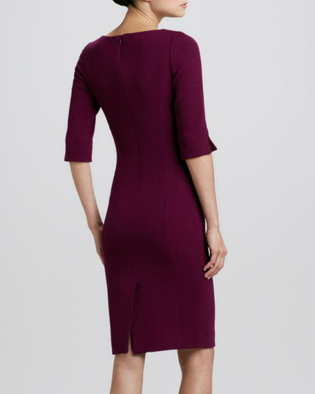 Half-Sleeve Wool Crepe Sheath Dress
