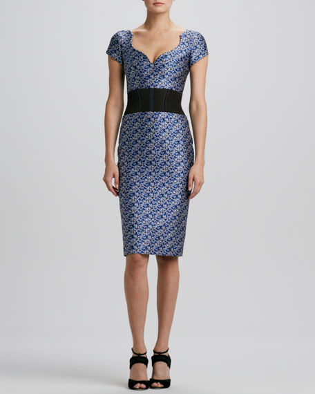 Pansy-Jacquard Waistband Sheath Dress