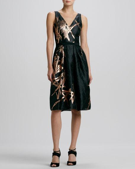 Metallic Twig-Print Jacquard Dress