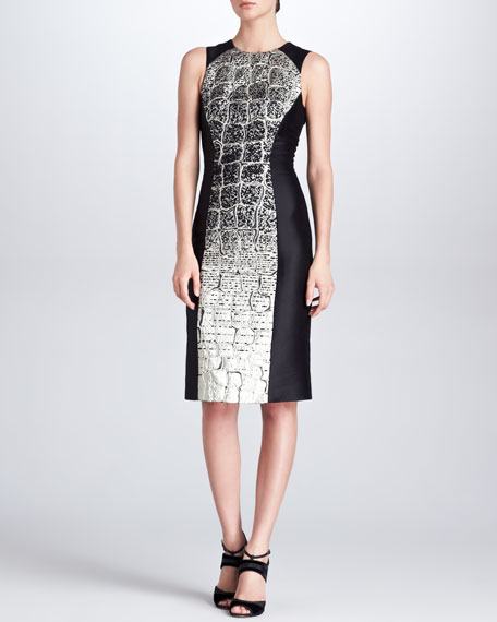 Crocodile-Degrade-Jacquard Dress, Black/Metallic