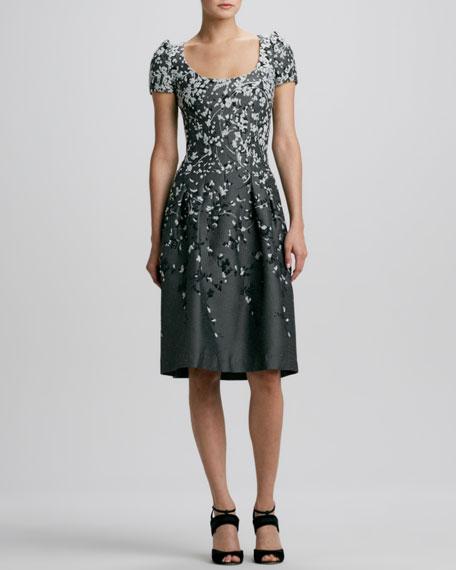 Floral Peaked-Shoulder Jacquard Dress
